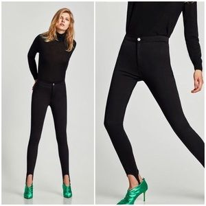 Zara black skinny leggings jeans with fuseau NWT M